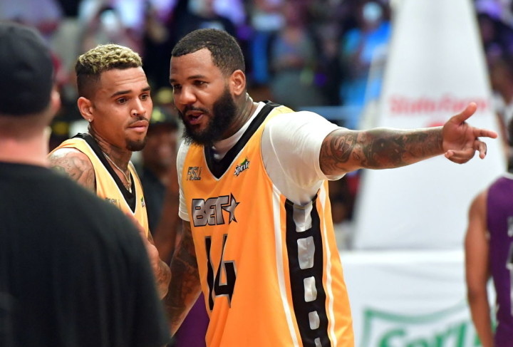 brand new cb425 5edbd Chris Brown and The Game Share a Blunt During Adidas  Hip-Hop All-Star Game