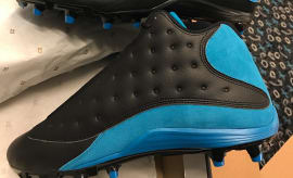 Thomas Davis Air Jordan 13 Carolina Panthers PE Cleats Away