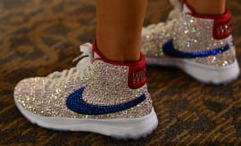 Michelle Wie Swarovski Crystal Nike Blazer Golf Shoes On-Foot