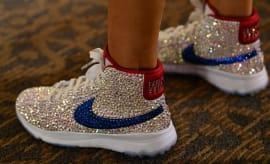 Michelle Wie Swarovski Crystal Nike Blazer Golf Shoes On-Foot