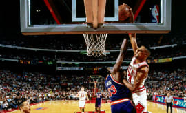 Scottie Pippen Dunks Over Patrick Ewing