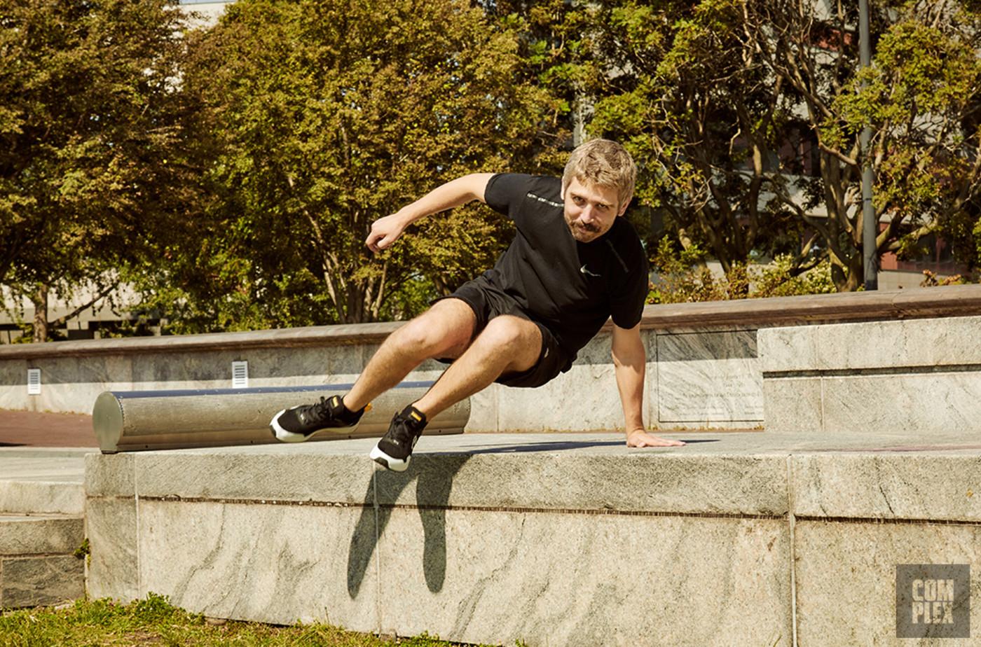 Parkour Jump Over Concrete Ledge