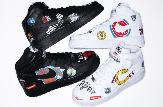 9c46e4d784b Supreme x Nike x NBA Air Force 1 Mid  White  AQ8017-100