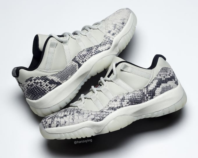 947b2b8b40a4 Air Jordan 11 Low SE Snakeskin  Light Bone University Red-Sail-Black