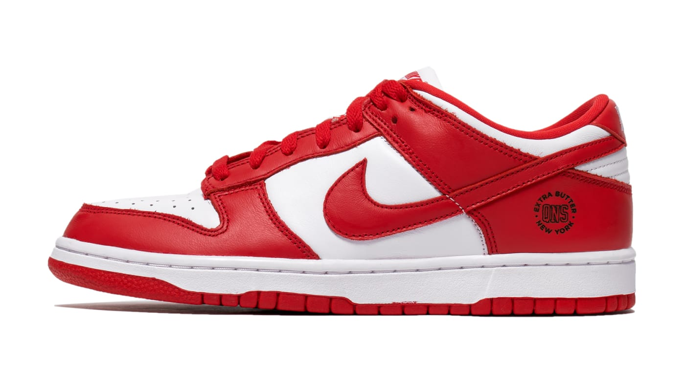 Extra Butter Custom Lasered Nike Dunk Low 'University Red' Lateral