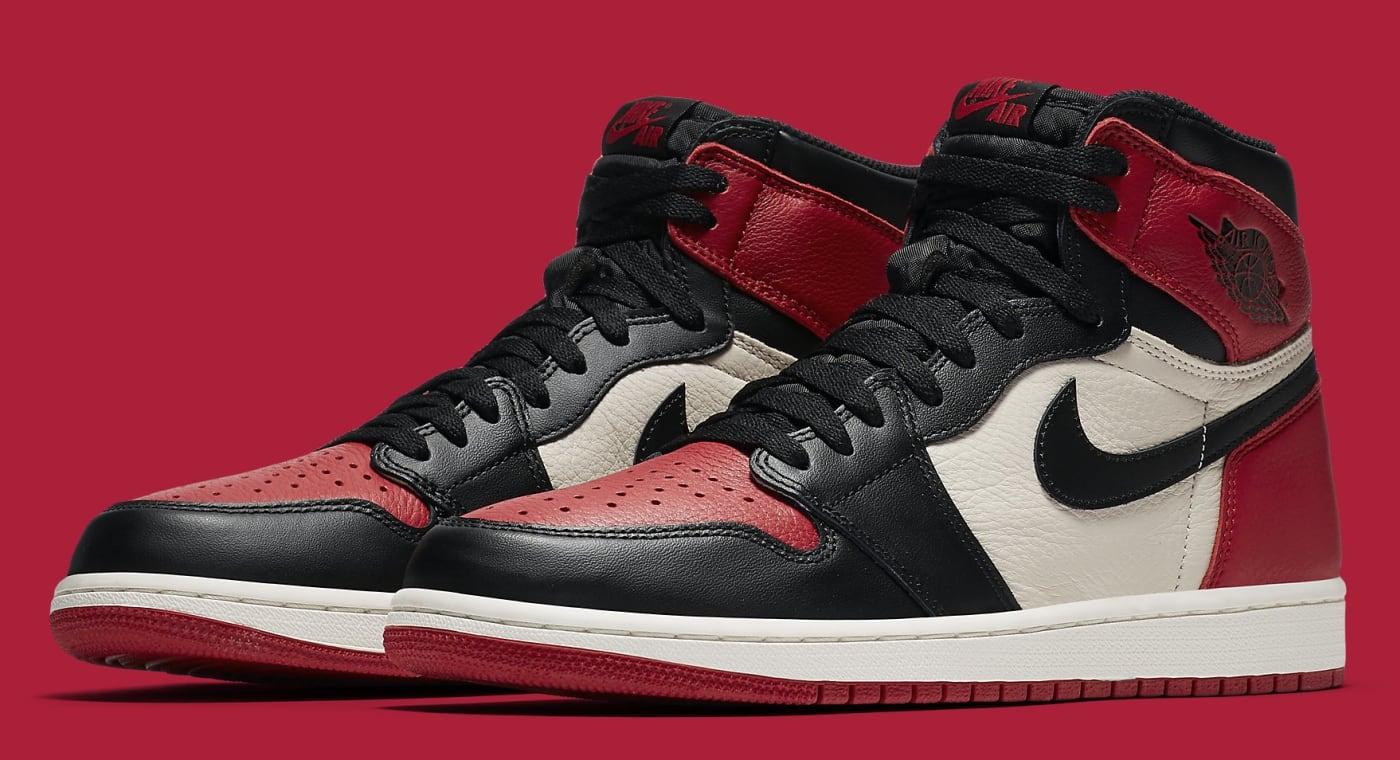Air Jordan 1 'Bred Toe' Gym Red/Black Summit White 555088 610 (Pair)