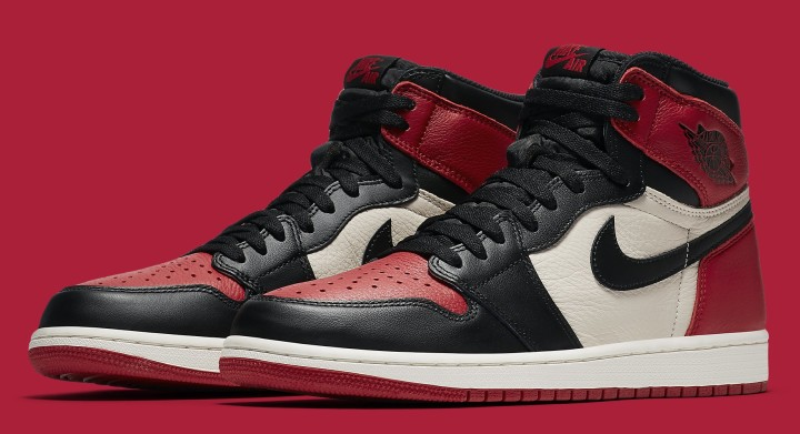 Air Jordan 1 'Bred Toe' Gym Red/Black-Summit White 555088-610 (Pair)