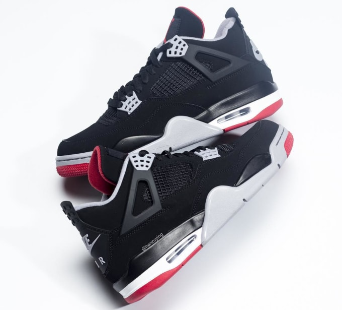 8f5bde64f8626a Air Jordan 4 Retro  Bred  2019 308497-060 Lateral. Image via hanzuying