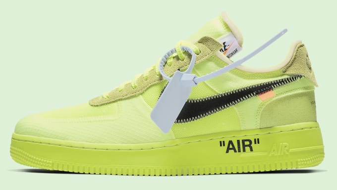 7e23bd83f1ae Off-White x Nike Air Force 1 Volt Release Date AO4606-700 Profile