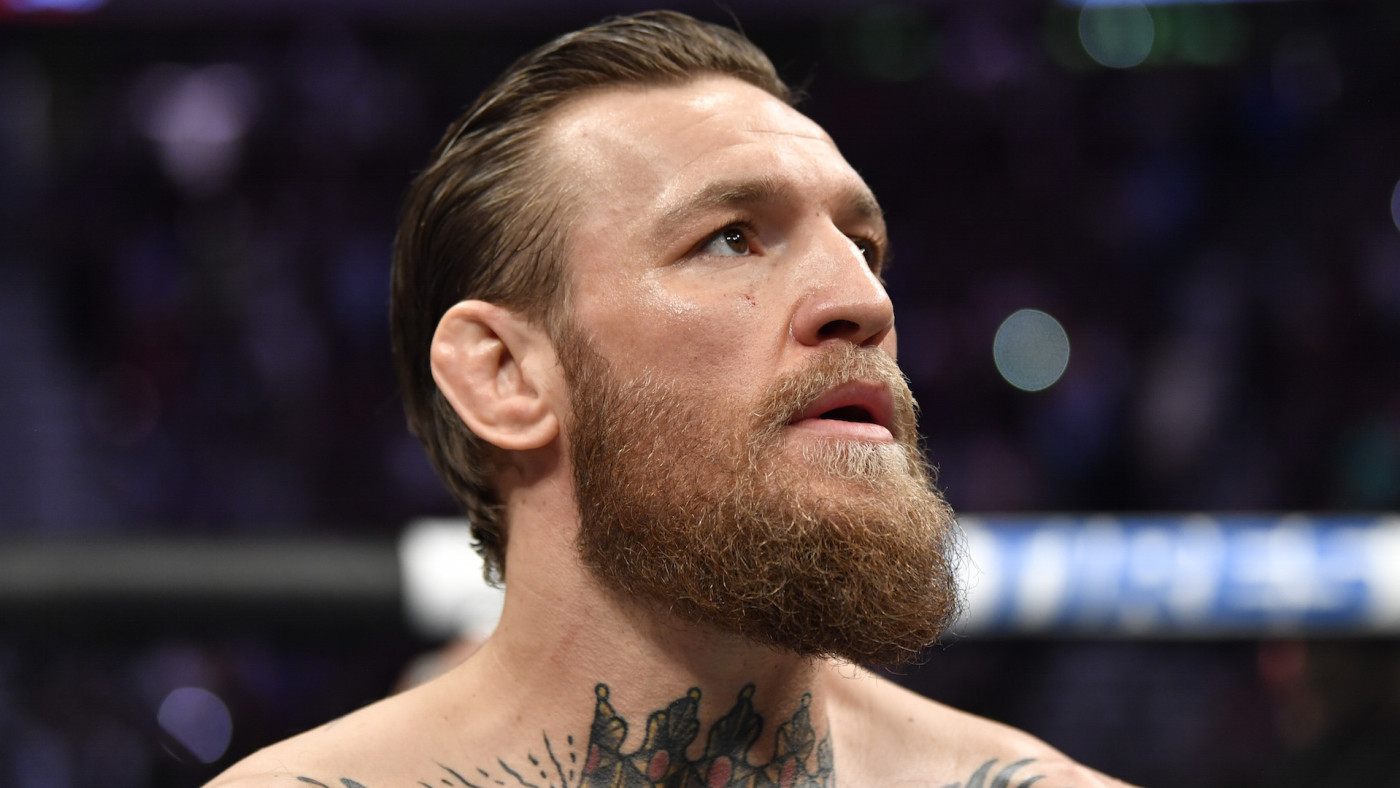 Conor McGregor of Ireland stands in the octagon