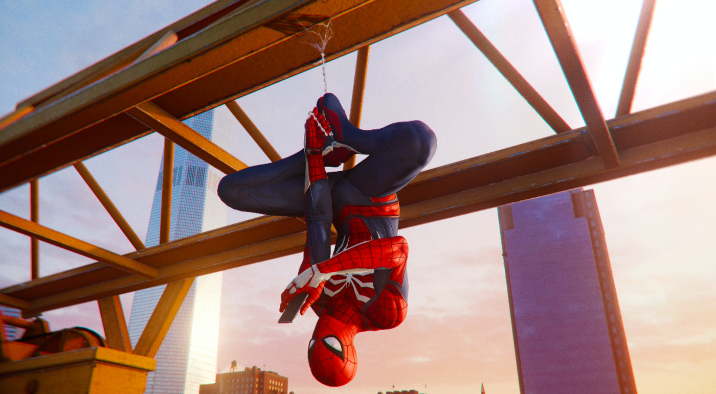 Spider-Man hanging out in 'Marvel's Spider-Man'