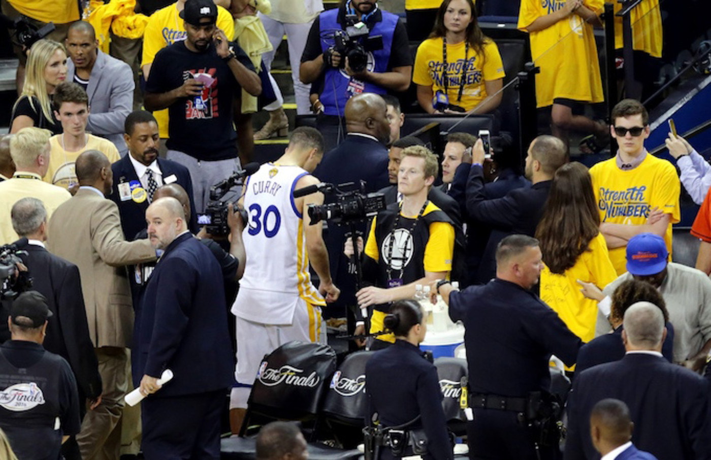 Steph Curry walks off court after Warriors blow 3-1 lead in NBA Finals.