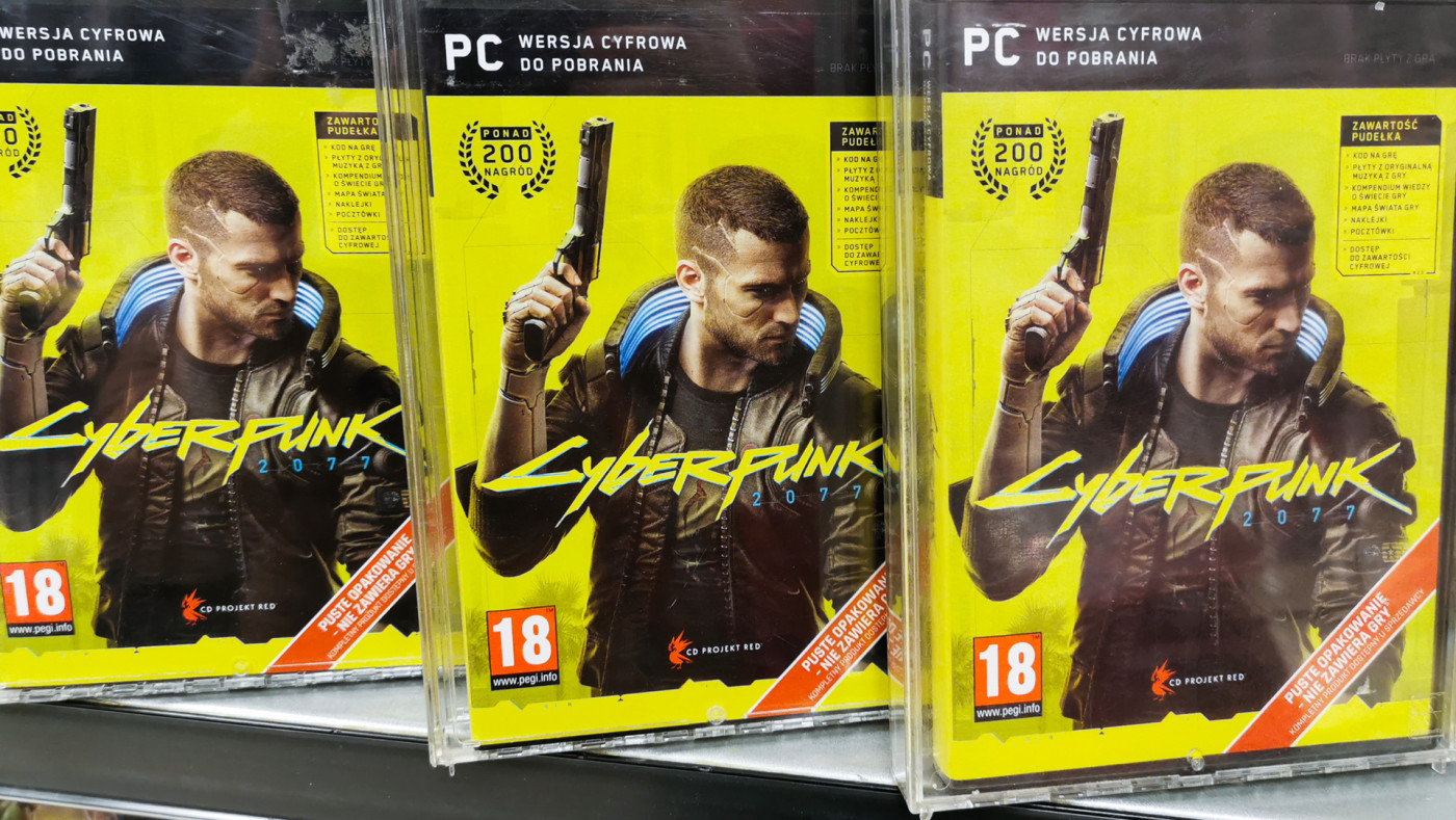 Cyberpunk 2077 on shelves
