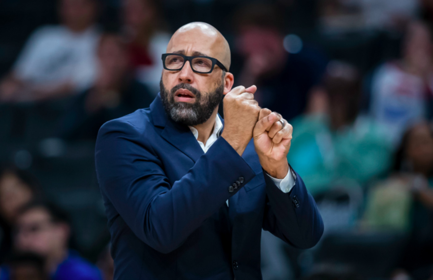 Head coach David Fizdale gestures during the first half