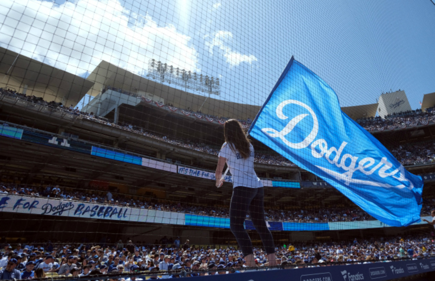 Fans fill the the seats during opening day at Dodger Stadium