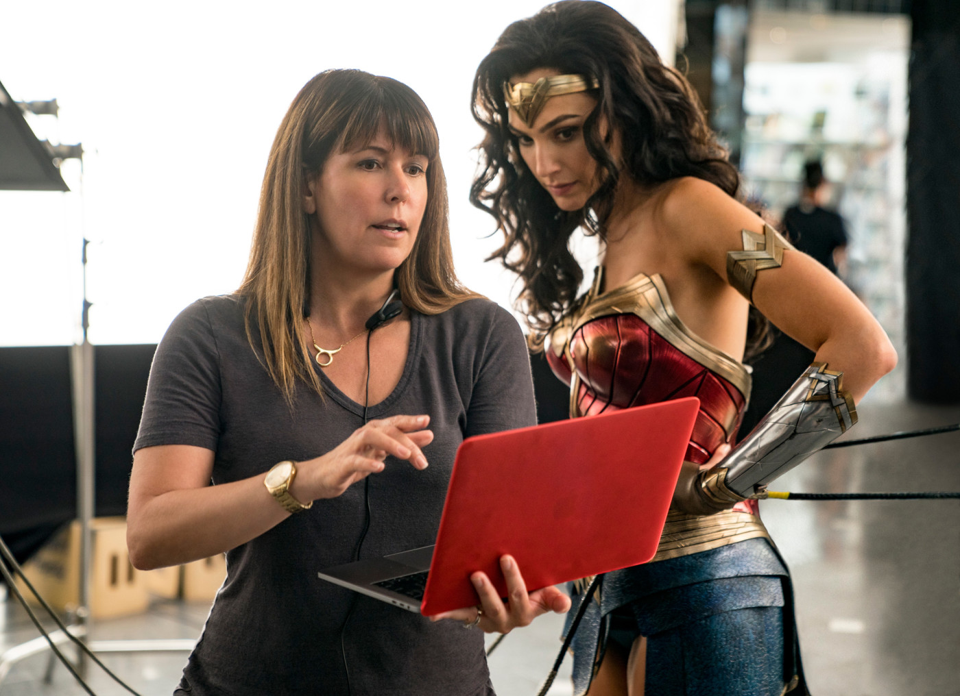 Patty Jenkins and Gal Gadot behind the scenes of 'Wonder Woman 1984'