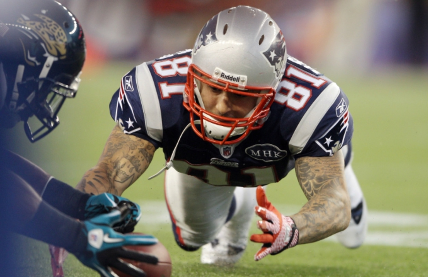 Aaron Hernandez in a photo from 2011.