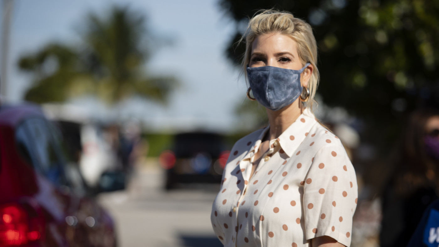 Ivanka Trump attends a food box distribution at King Jesus Ministry in Miami.