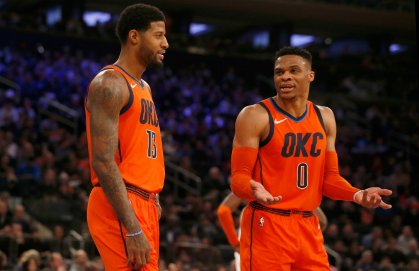 Paul George #13 and Russell Westbrook #0 of the Oklahoma City Thunder