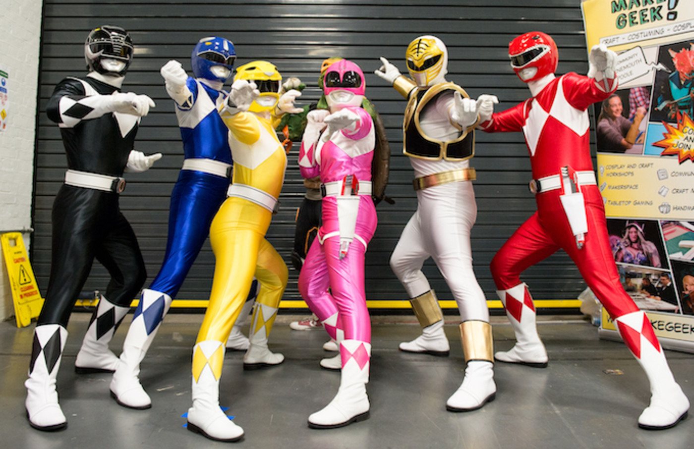 A Power Rangers cosplayer group seen in character during London Film and Comic Con 2019.