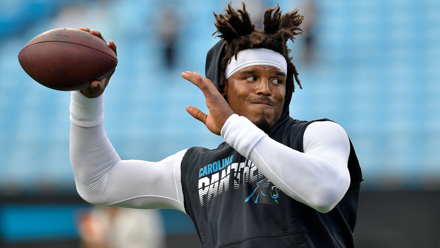 Cam Newton warms up prior to a game during the 2019 season.