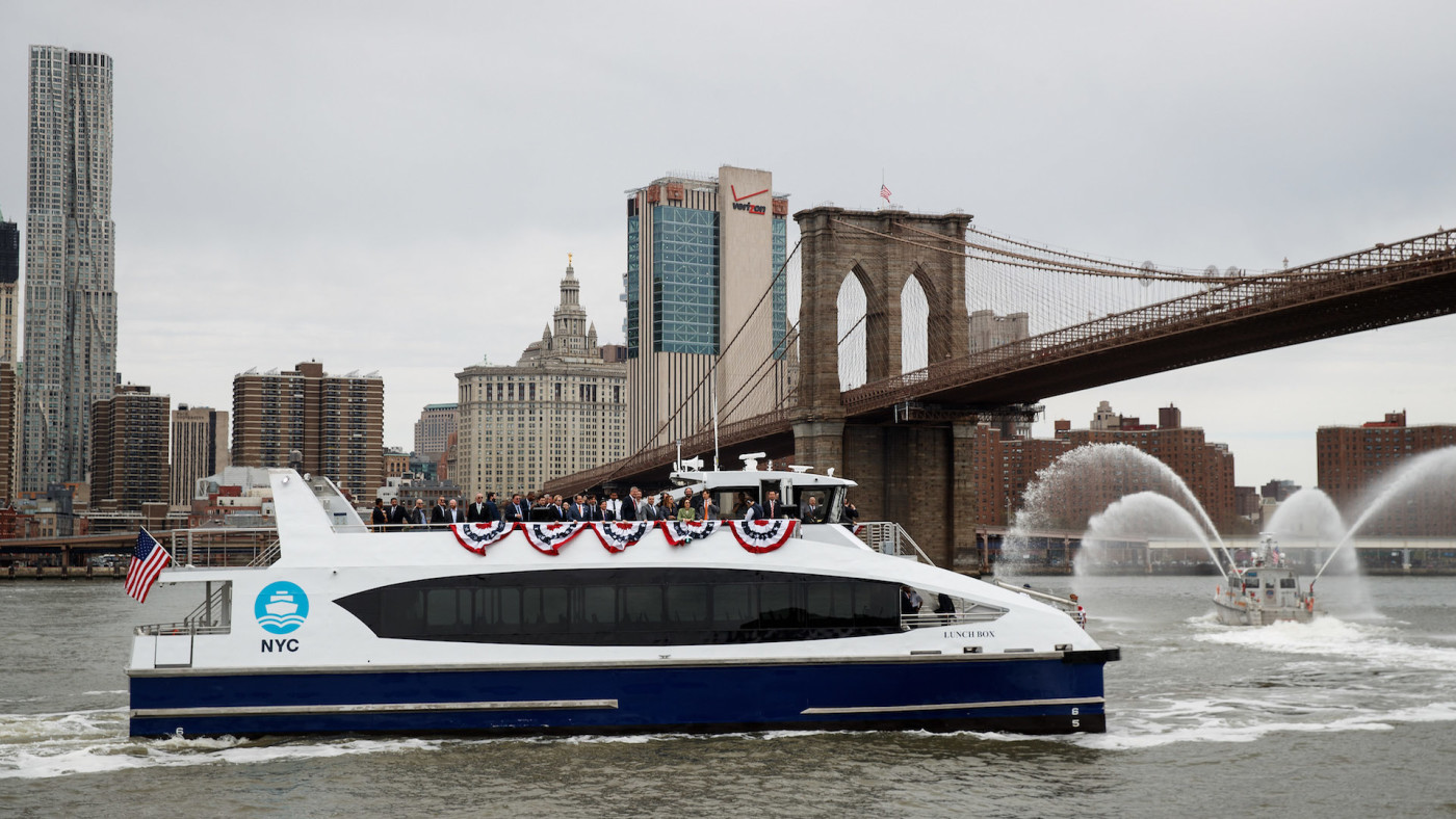 A new NYC Ferry boat arrives at Brooklyn Bridge Park for a dedication ceremony.