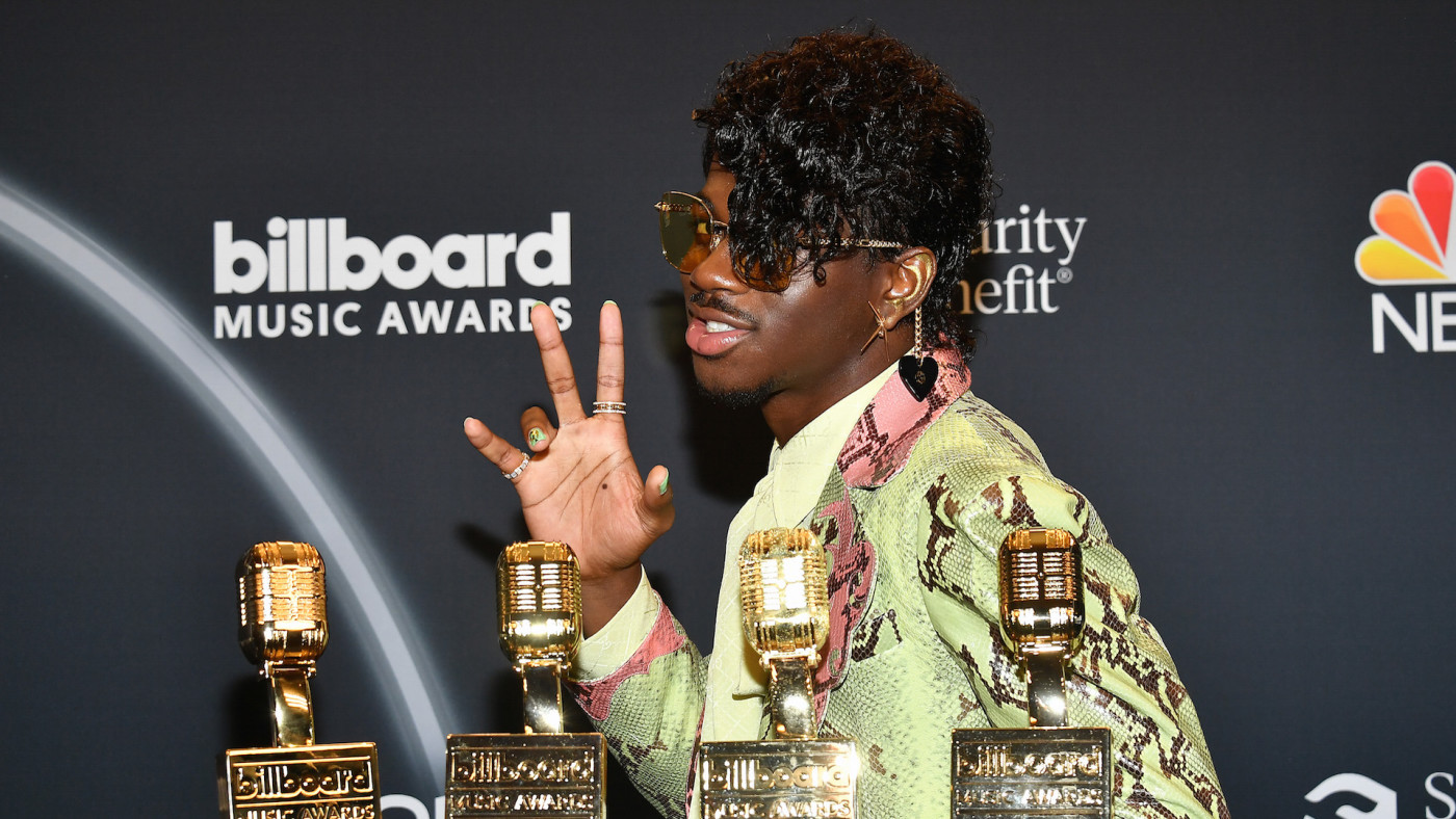 Lil Nas X poses backstage at the 2020 Billboard Music Awards