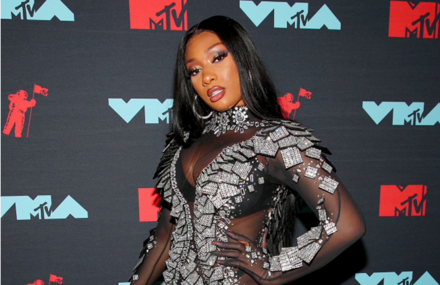 Megan Thee Stallion poses backstage during the 2019 MTV Video Music Awards