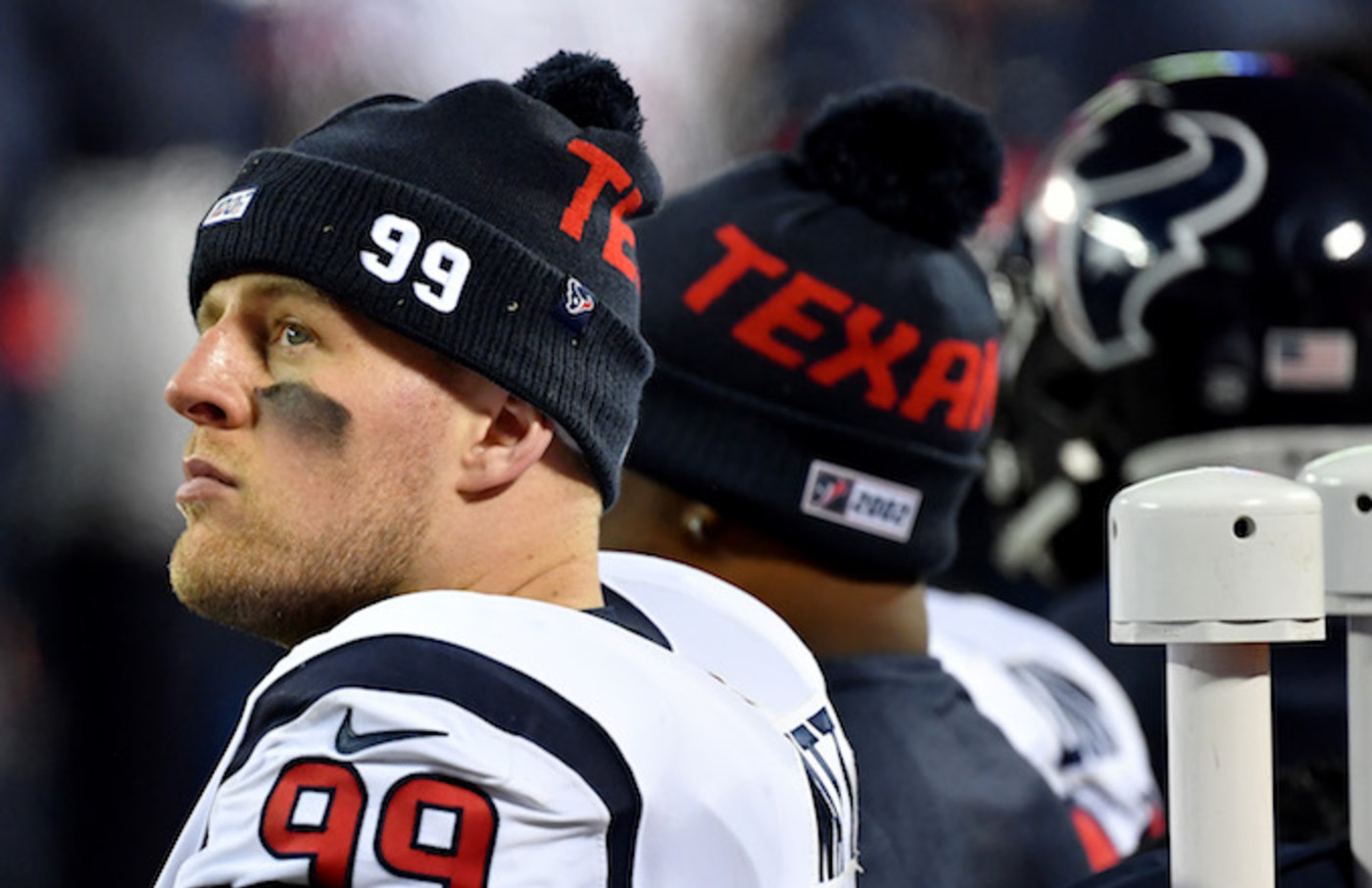 J.J. Watt looks on from the sidelines in the fourth quarter of the AFC Divisional playoff game.