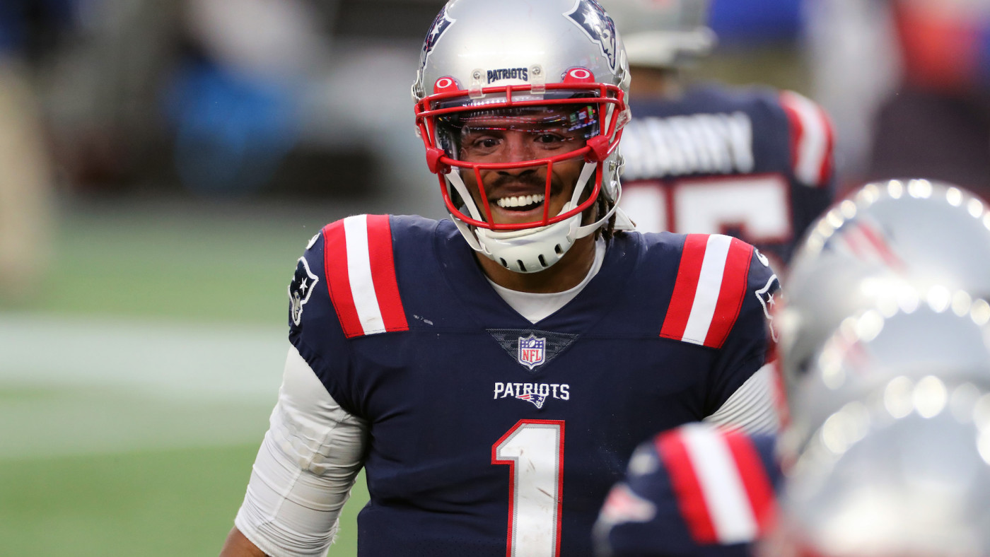 Cam Newton #1 of the New England Patriots celebrates a Touchdown