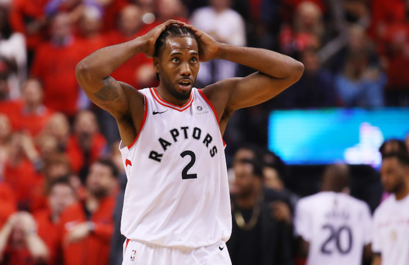 Kawhi Leonard reacts against the Golden State Warriors during Game Five of the 2019 NBA Finals.