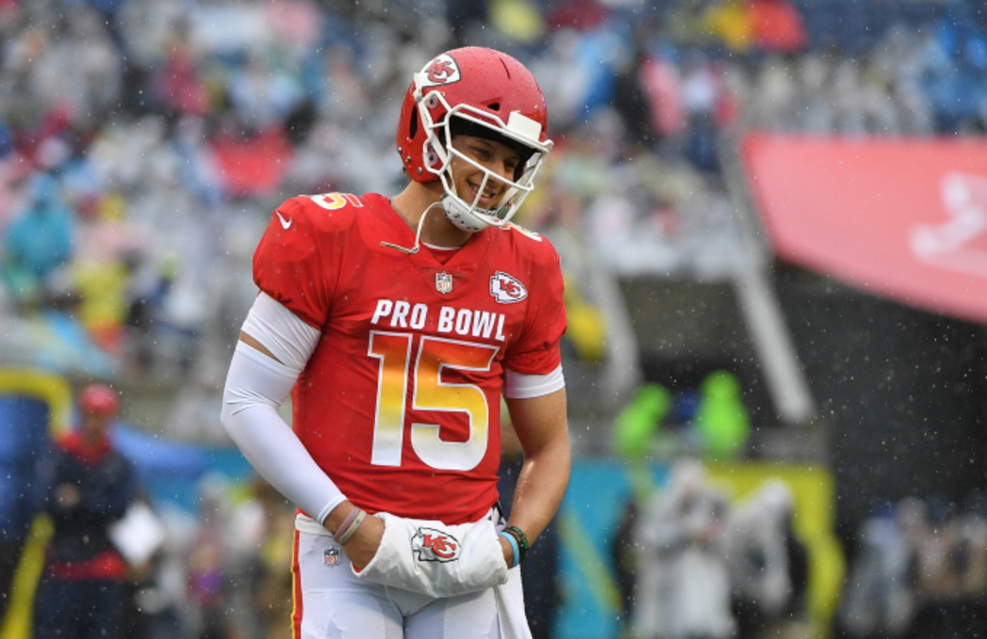 Patrick Mahomes #15 of the Kansas City Chiefs in action during the 2019 NFL Pro Bowl