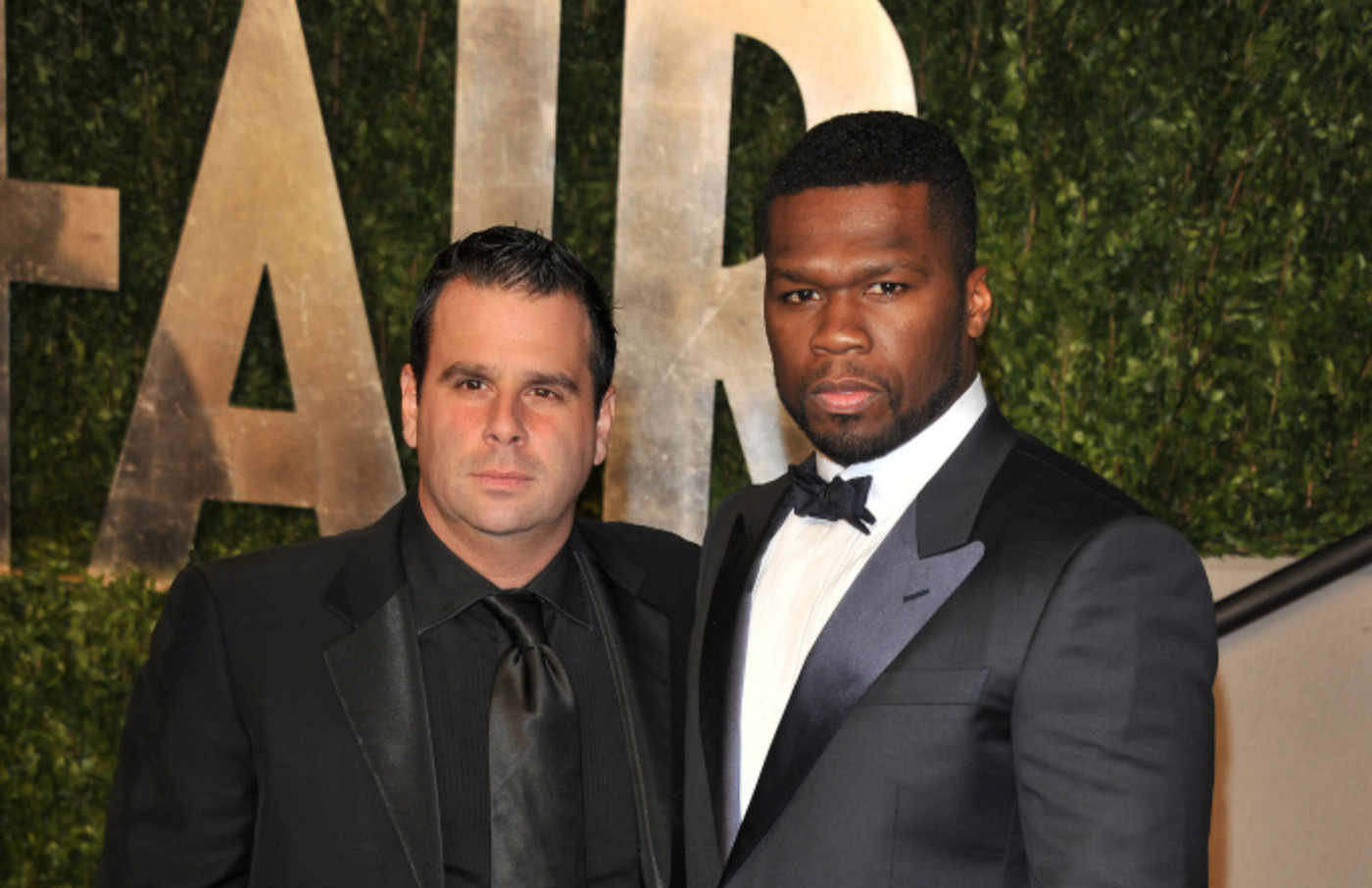 Randall Emmett and Curtis '50 Cent' Jackson arrive at the Vanity Fair Oscar party