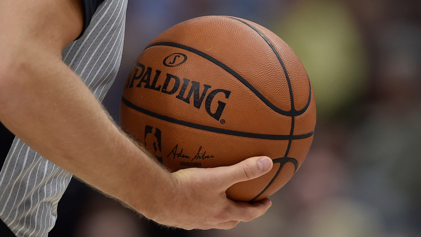 General view of the ball used in a NBA game