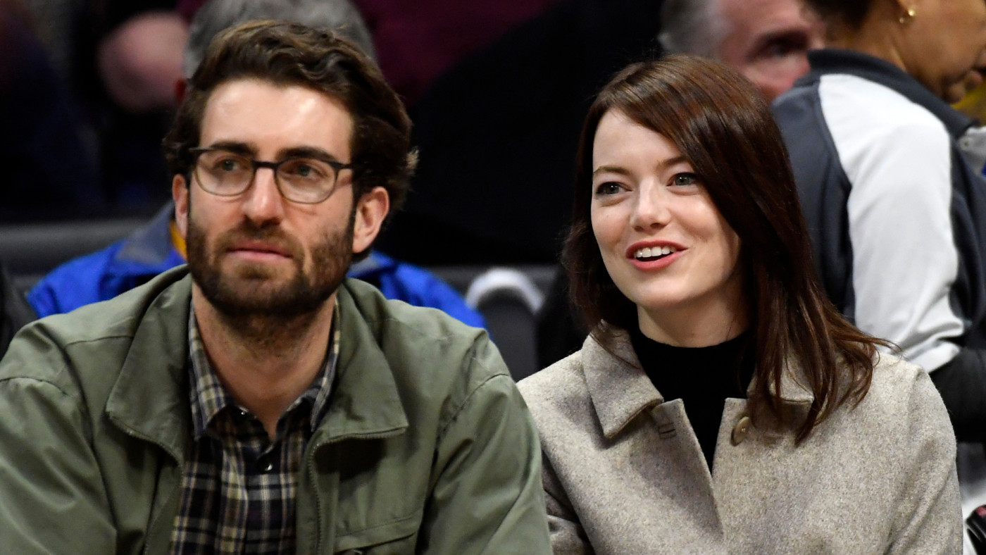 Emma Stone and Dave McCary attend Warriors and Clippers basketball game.