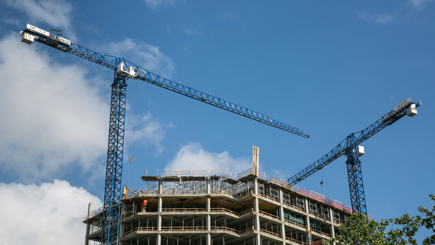 New downtown condominiums and office space is under construction.