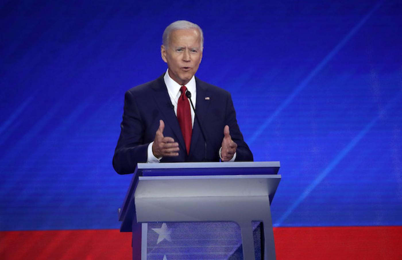 Joe Biden speaks during the Democratic Presidential Debate.