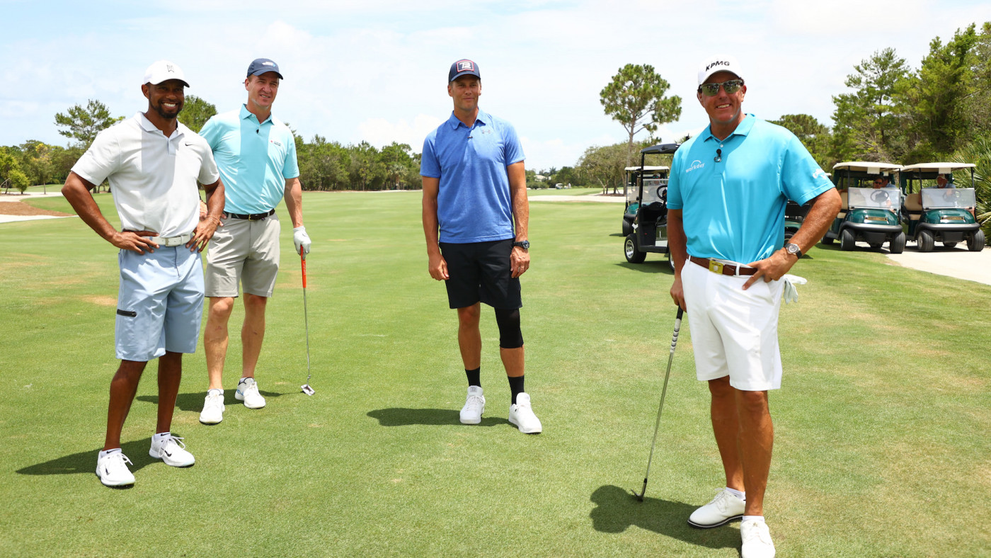 Tiger Woods, Peyton Manning, Tom Brady, and Phil Mickelson