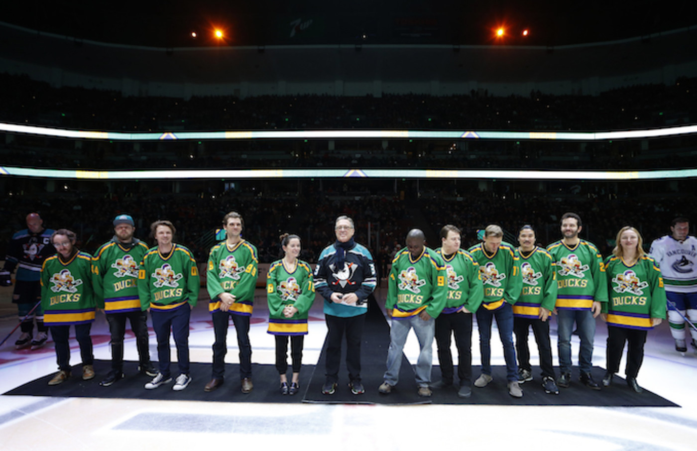 Members of the cast and crew from the original Mighty Ducks movie.