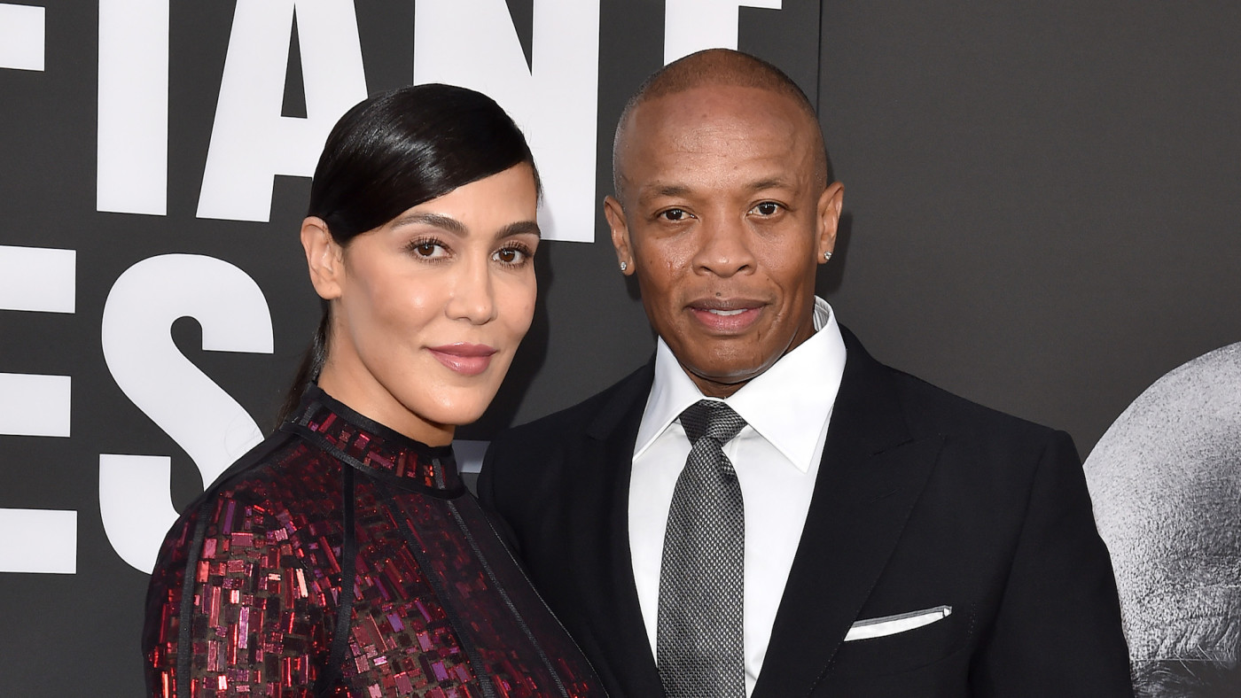 Dr. Dre and wife Nicole Young arrive at the premiere of 'The Defiant Ones.'