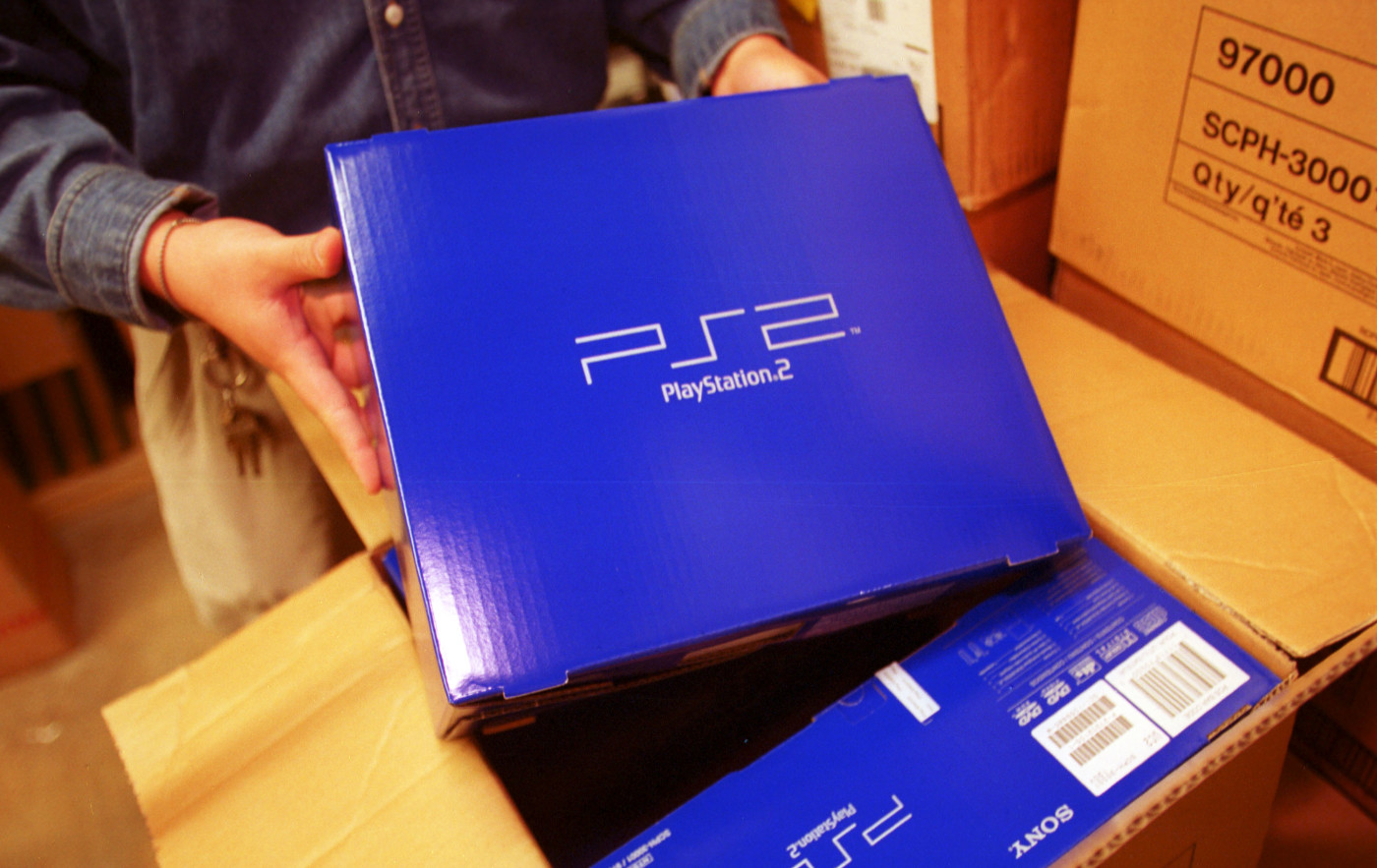 This is a photo of the PS2 in a box.