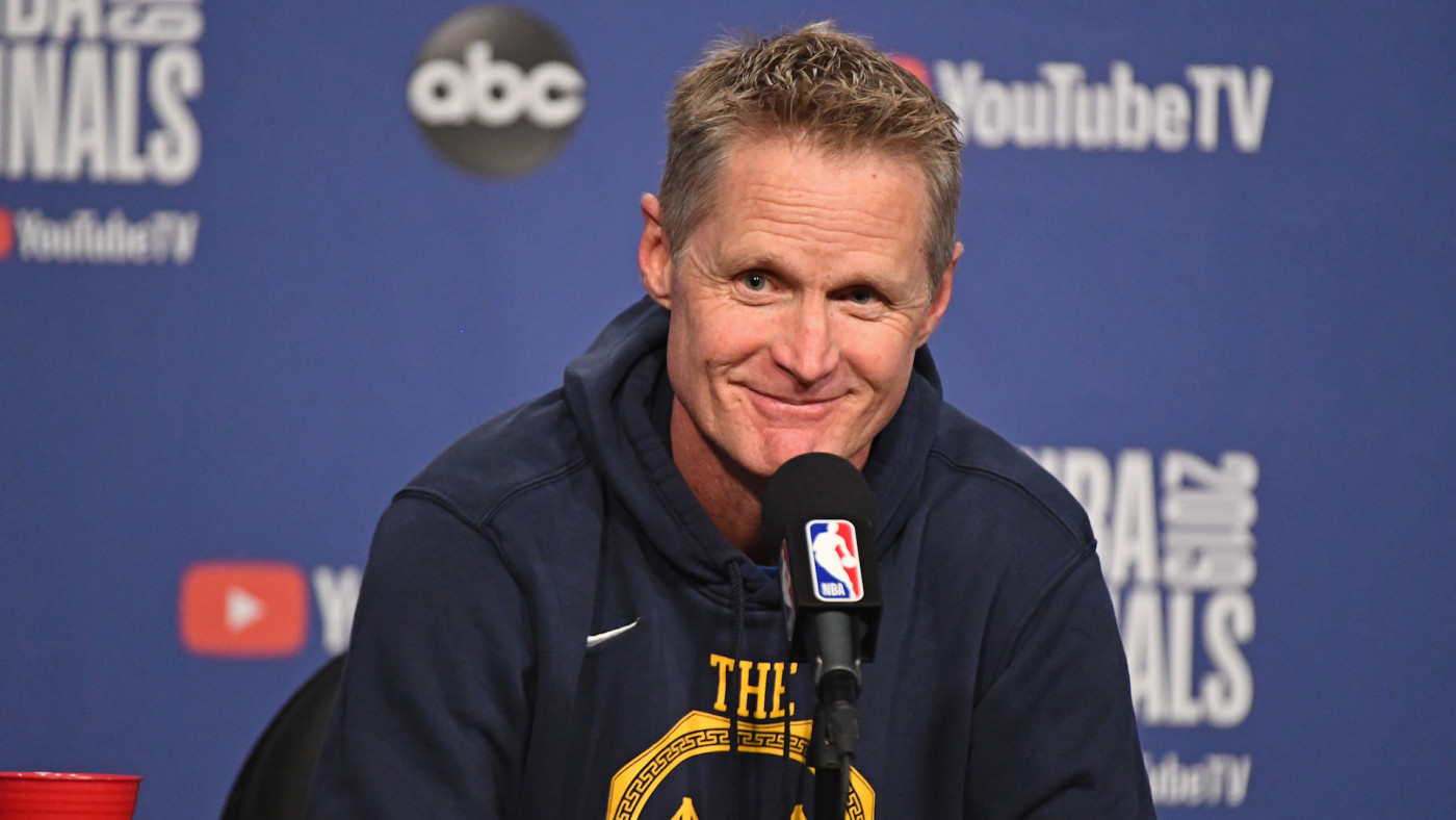 Steve Kerr talks to media during press conference before Game 1 of the 2019 NBA Finals.