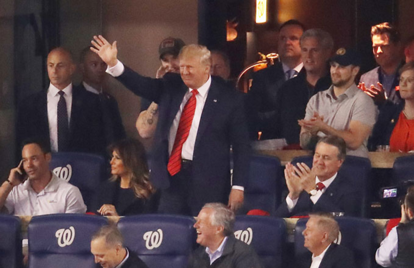 Donald Trump booth at the World Series
