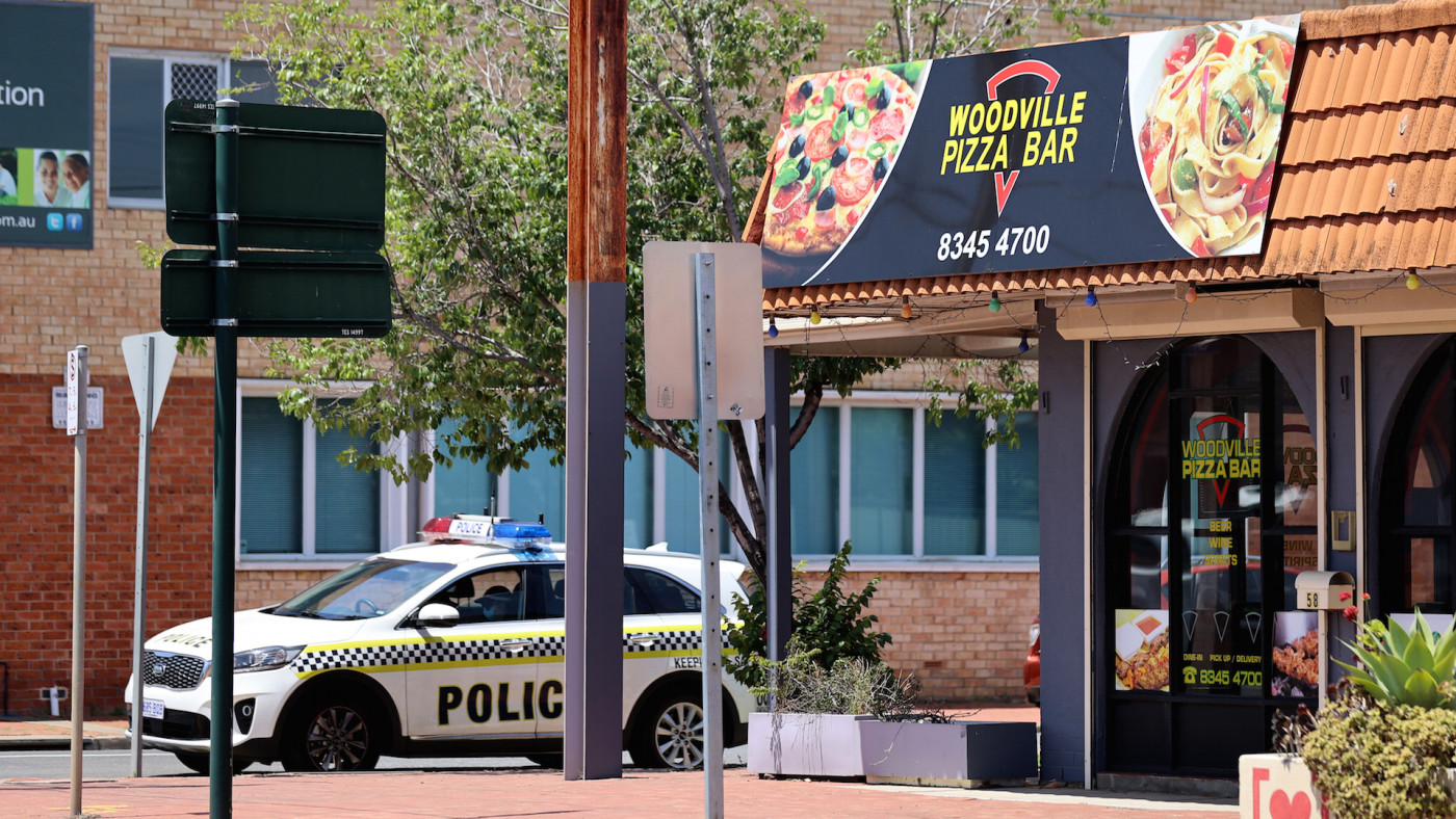 Police outside the Woodville Pizza Bar