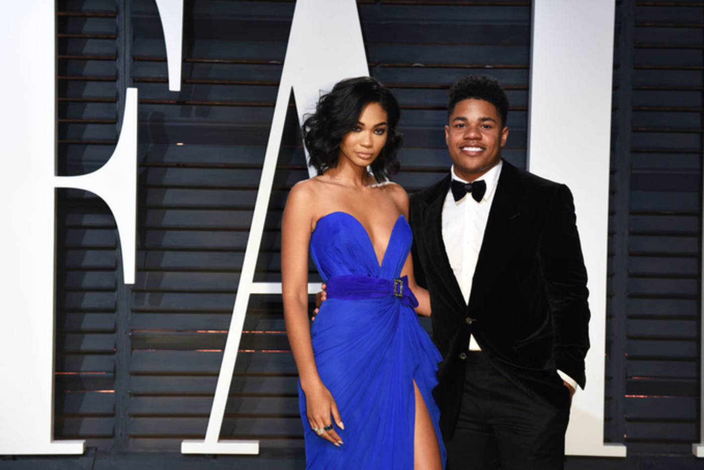 Chanel Iman and Sterling Shepard attend the 2017 Vanity Fair Oscar Party