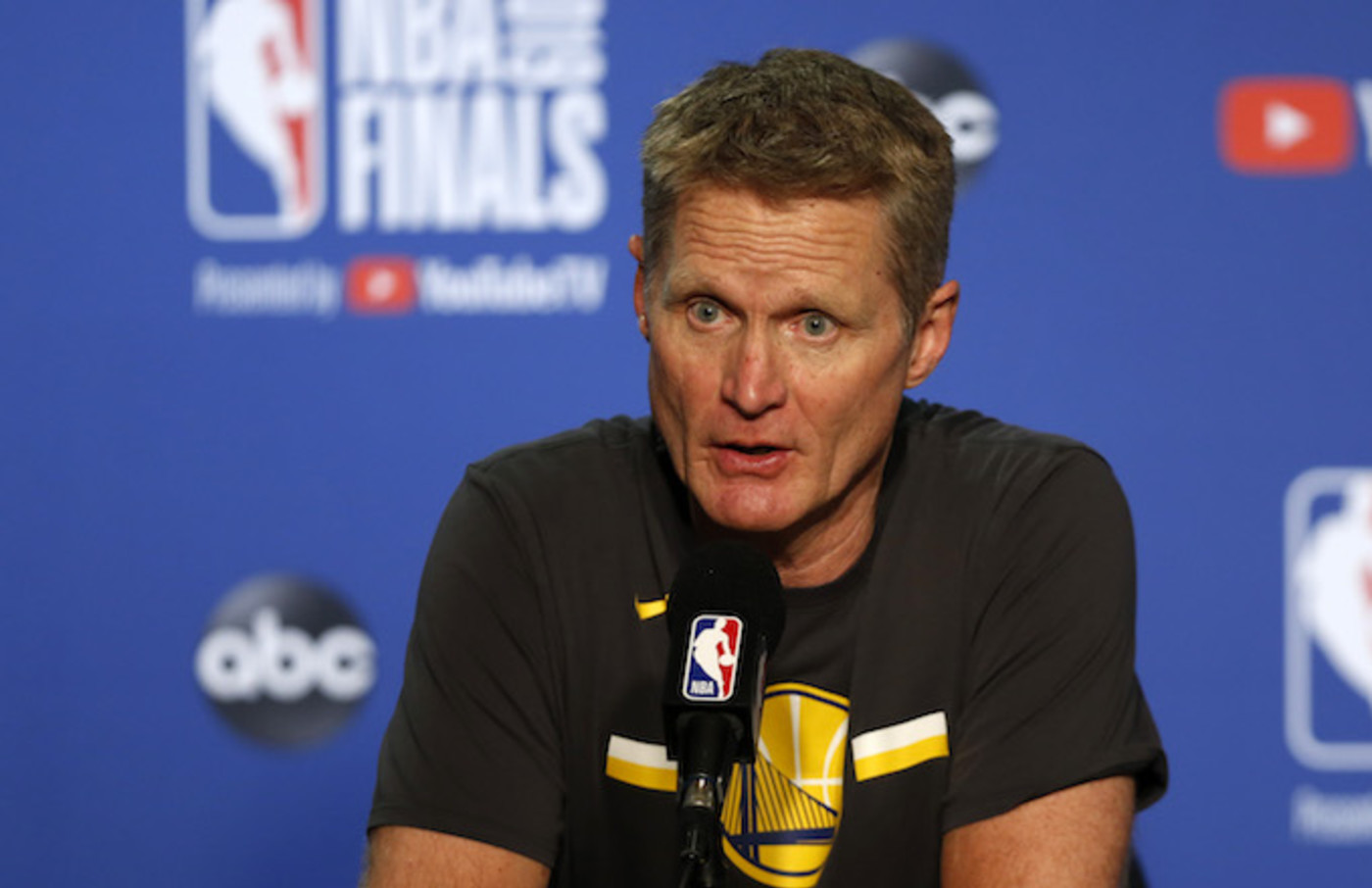 Steve Kerr speaks to the media following Game Three of the 2019 NBA Finals.