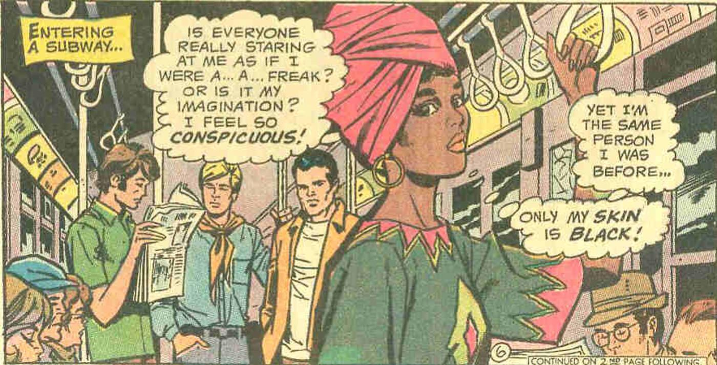 Lois Lane as a black woman on the subway