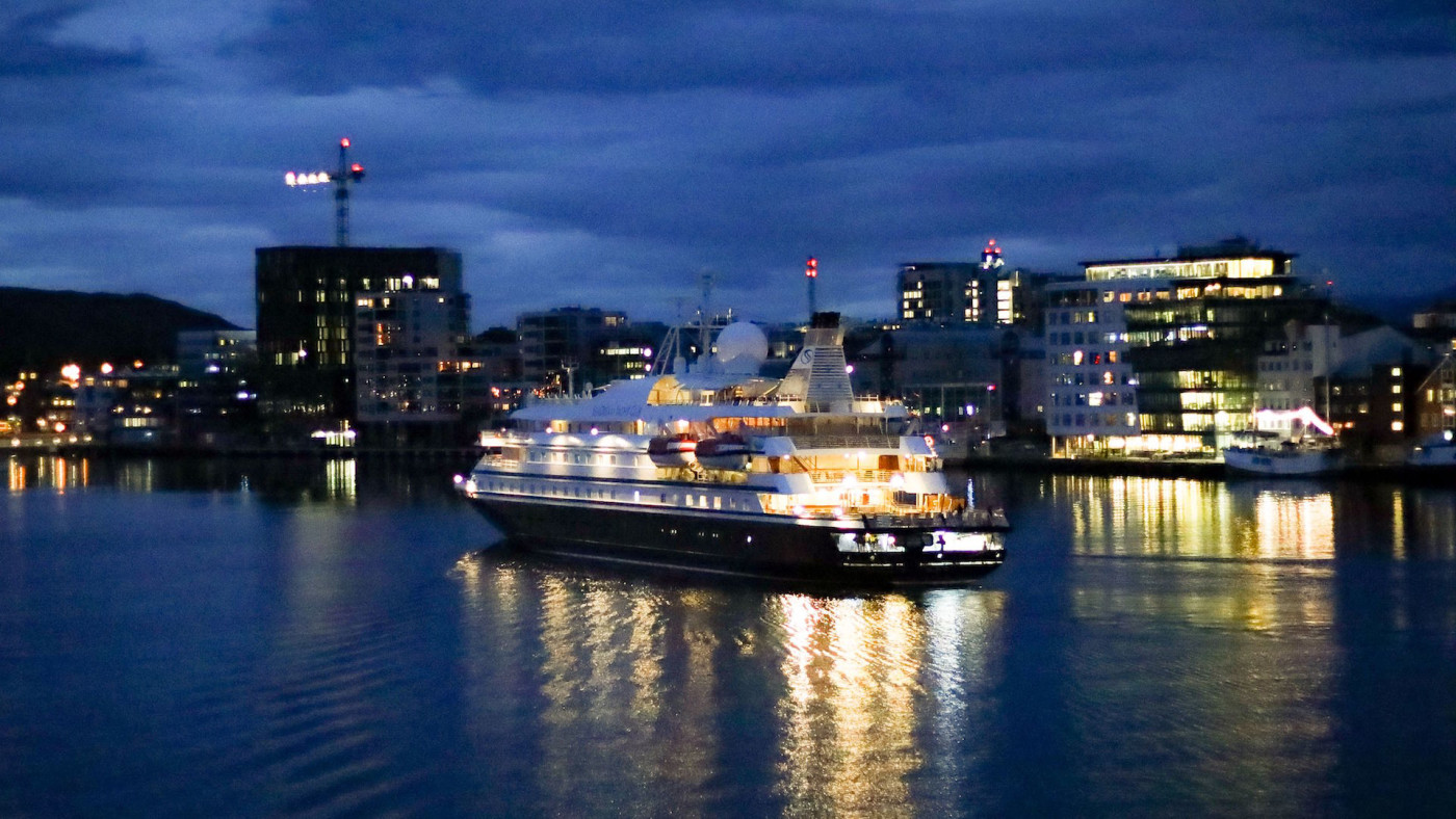 The Seadream 1 ship is pictured at Bodo harbor in Norway.