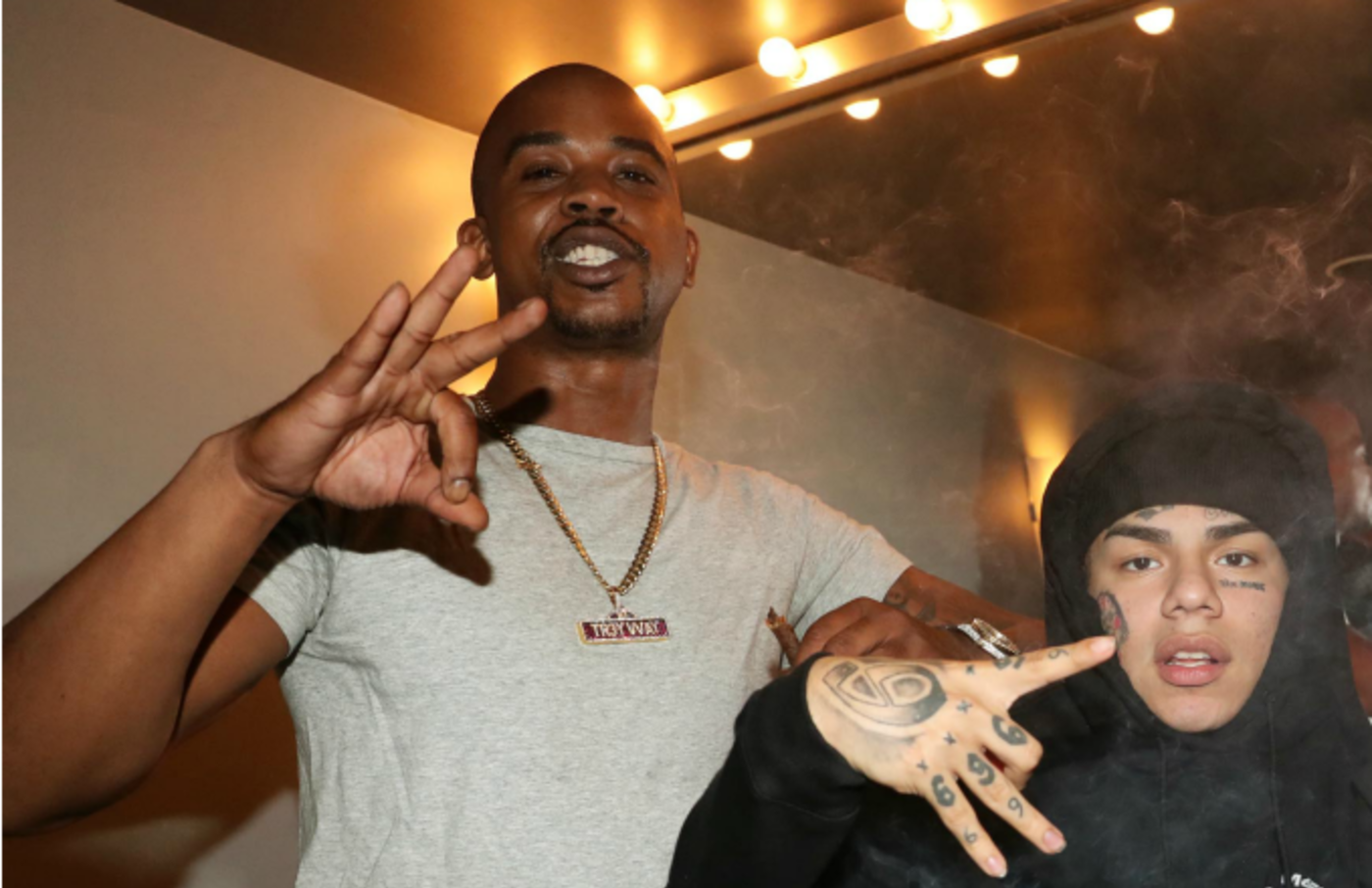 Tr3way and 6ix9ine backstage at PlayStation Theater