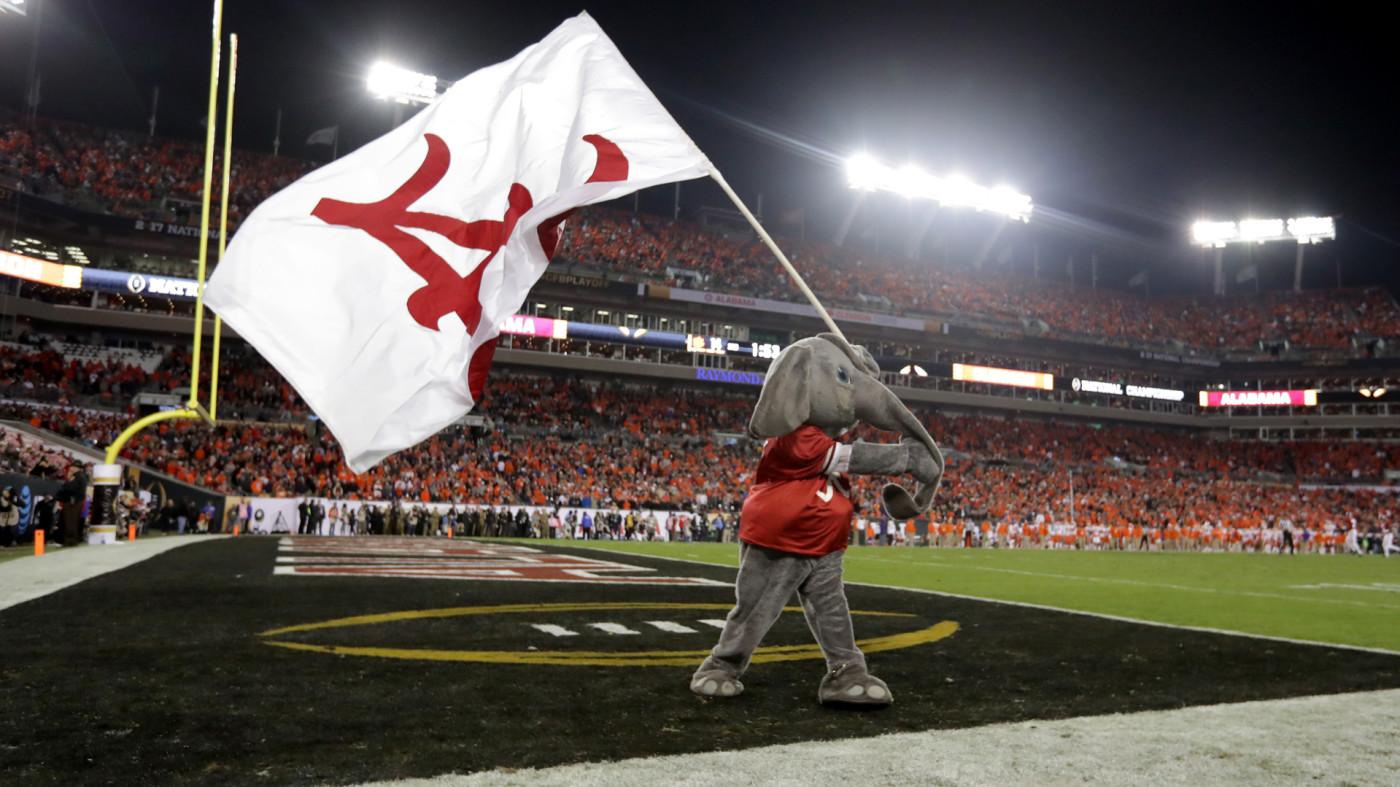 Alabama mascot Big Al waving Alabama flag at National Championship
